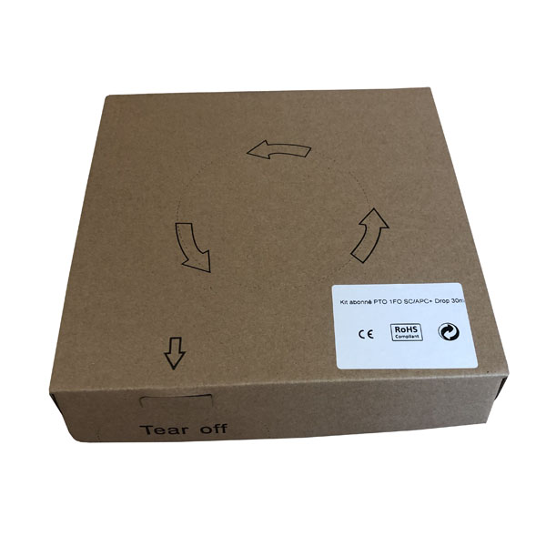 FTTH ont box 4 FO Kit-Preterminated Wall Outlet box with SC adapter and 4.0mm white Drop ont cable