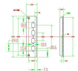 8 ports lc duplex adapter panel dimension of din rail optic ftth box