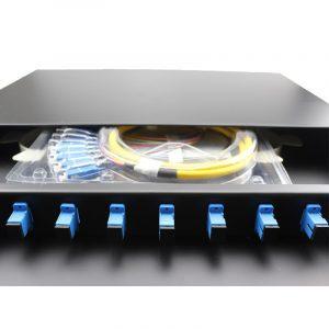 FTTH 19 Inch Slide Rail Rack Mount Drawer 8 12 24 48 96 144 Port Distribution Box Fiber Optic Patch Panel