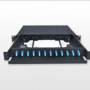 drawer type distribution frame LC Duplex ODF 12 port fiber optic patch panel