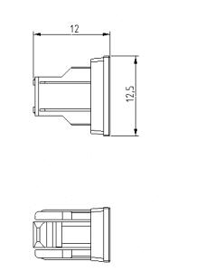 dust cap drawing of fiber optic sc shutter adapter
