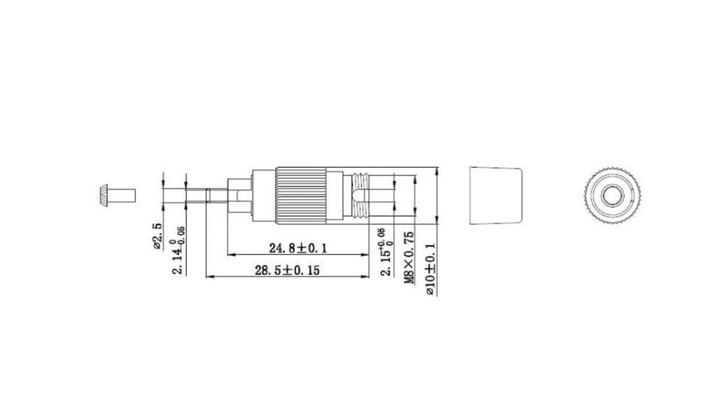 Dimension of male to female fc attenuator