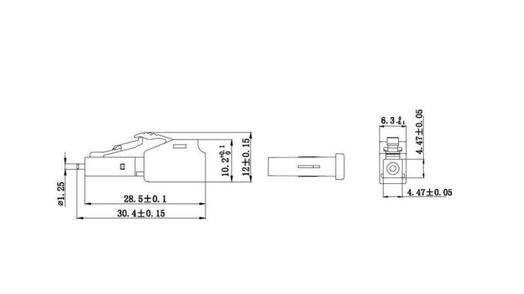 Dimension of male to female lc attenuator