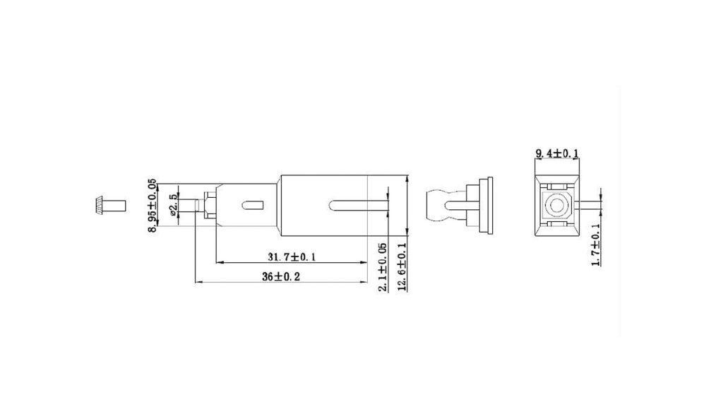 Dimension of male to female sc attenuator