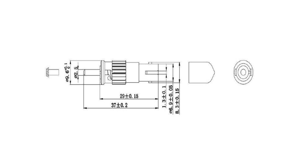 Dimension of male to female st attenuator