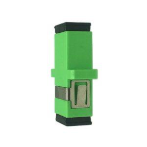 Green simplex sc apc fiber optic adapter