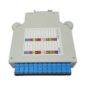 Aluminum DIN rail fiber optic terminal box with plastic splice tray